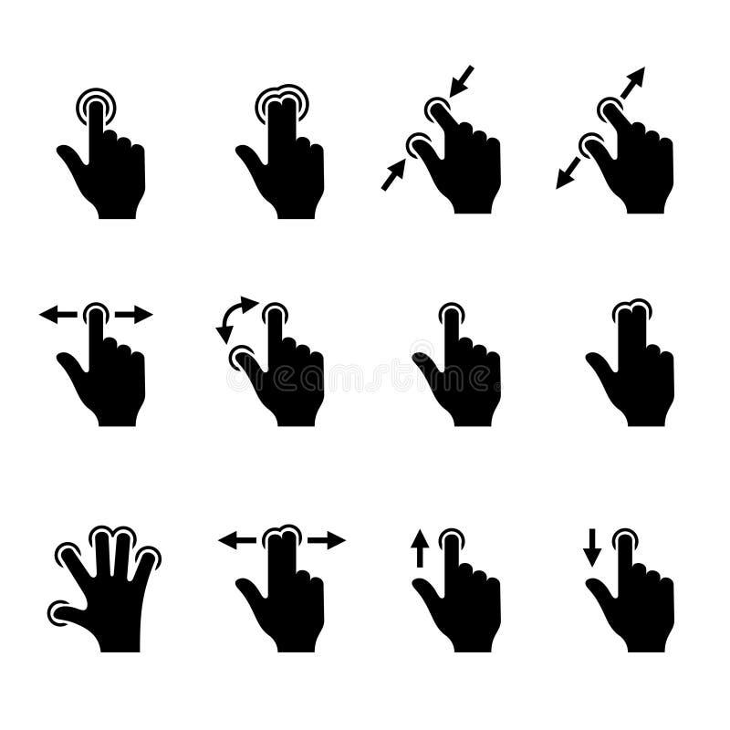 Iconos del gesto fijados para los dispositivos móviles del tacto Vector libre illustration