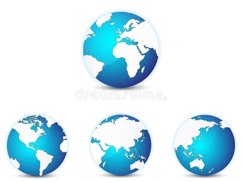 Iconos del globo del mundo fijados, con diversos continentes en foco stock de ilustración