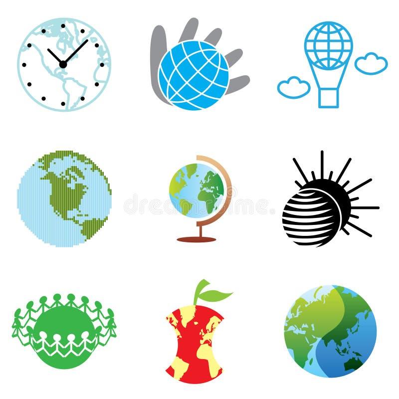 Iconos del globo y de la paz ilustración del vector