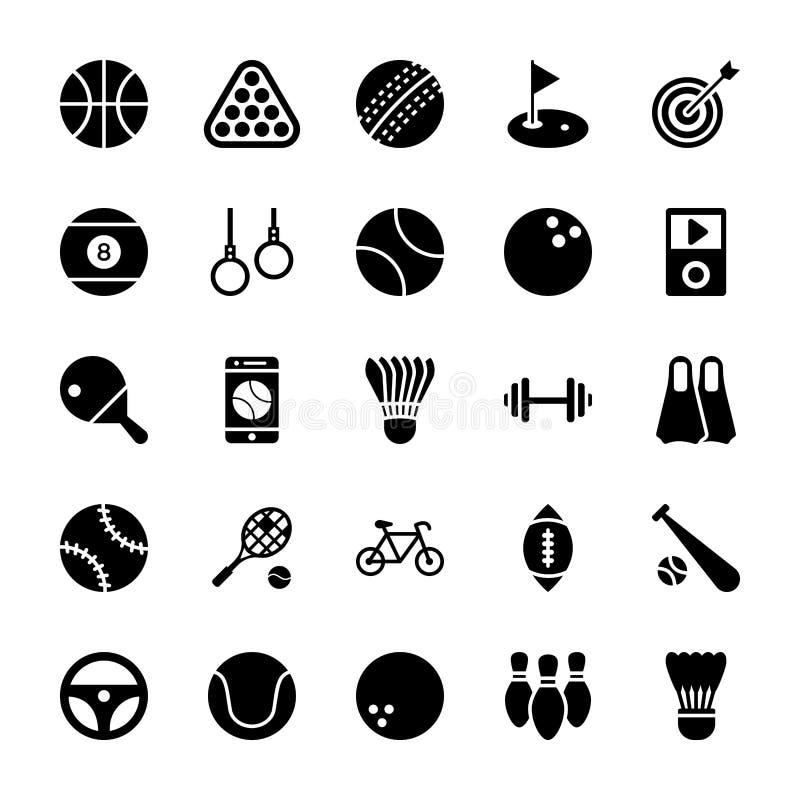Iconos del Glyph de los deportes ilustración del vector