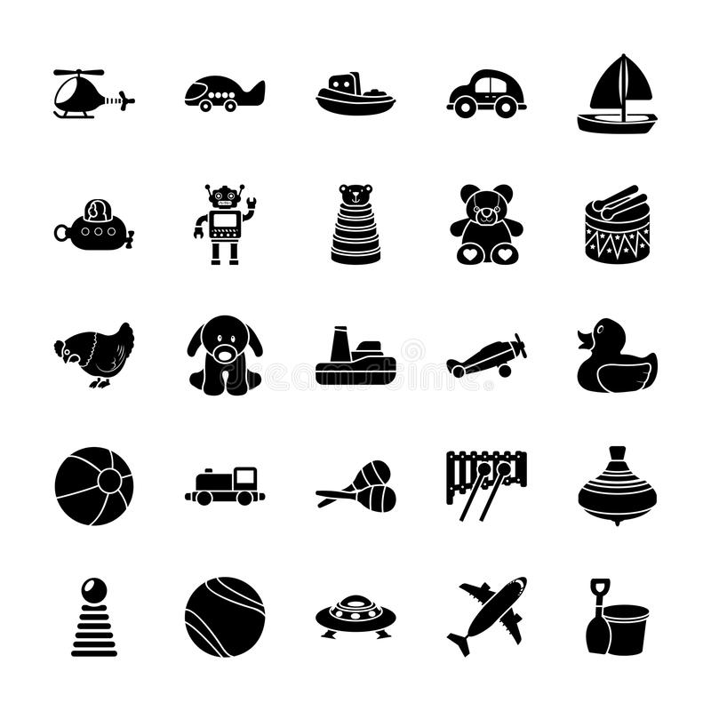 Iconos del Glyph de los juguetes stock de ilustración