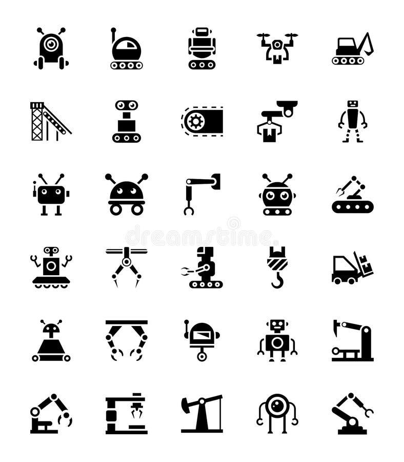Iconos del Glyph de los robots ilustración del vector