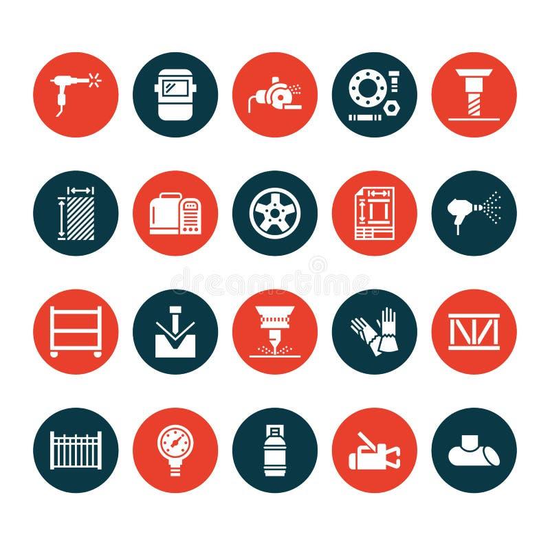Iconos del glyph del plano de servicios de la soldadura Productos de metal rodados, acería, corte del laser del acero inoxidable, ilustración del vector