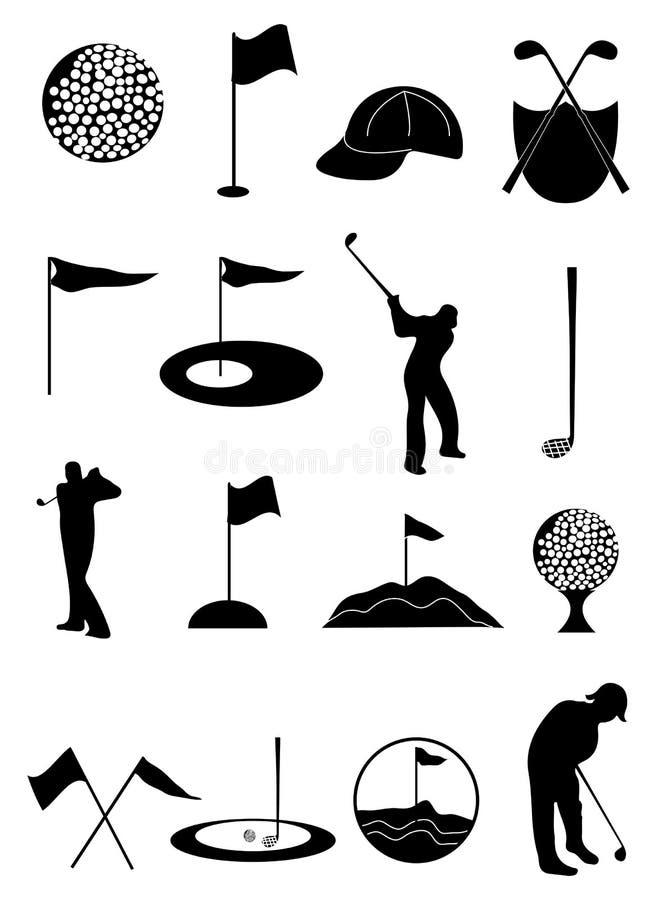 Iconos del golf fijados stock de ilustración