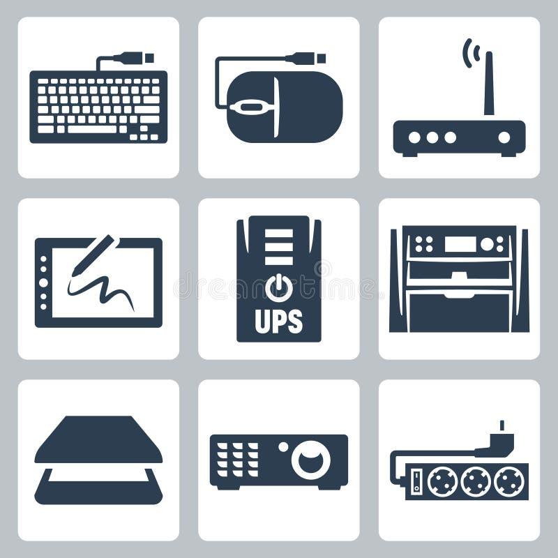 Iconos del hardware del vector fijados stock de ilustración