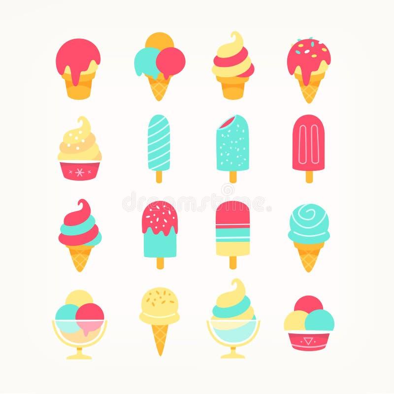 Iconos del helado stock de ilustración