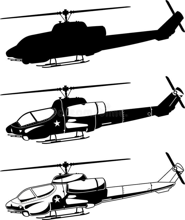 Iconos del helicóptero de la guerra stock de ilustración