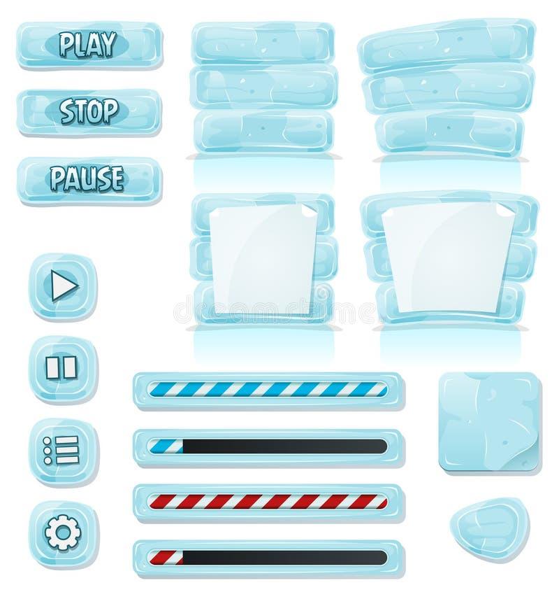 Iconos del hielo y del vidrio de la historieta para el juego de Ui stock de ilustración