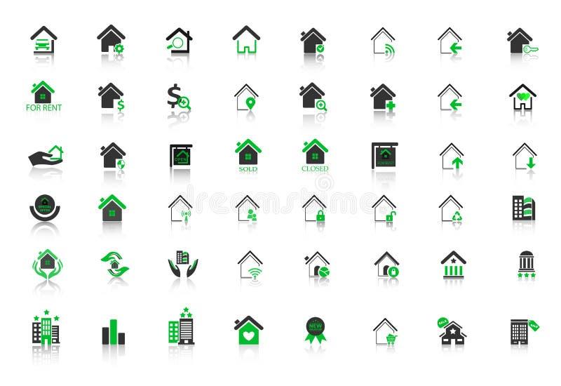 Iconos del hogar de las propiedades inmobiliarias fijados para el web stock de ilustración