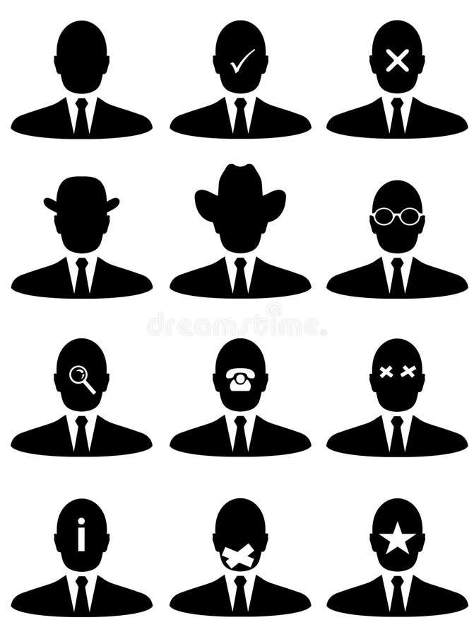 Iconos del hombre de negocios stock de ilustración