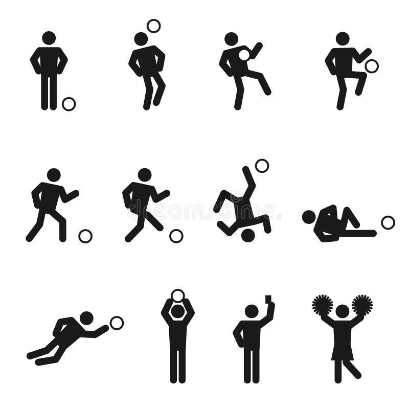 Iconos del hombre del fútbol o del fútbol fijados ilustración del vector