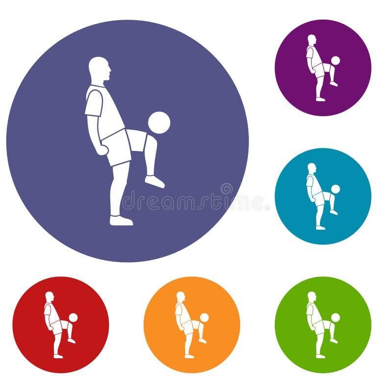 Iconos del hombre del jugador de fútbol fijados ilustración del vector