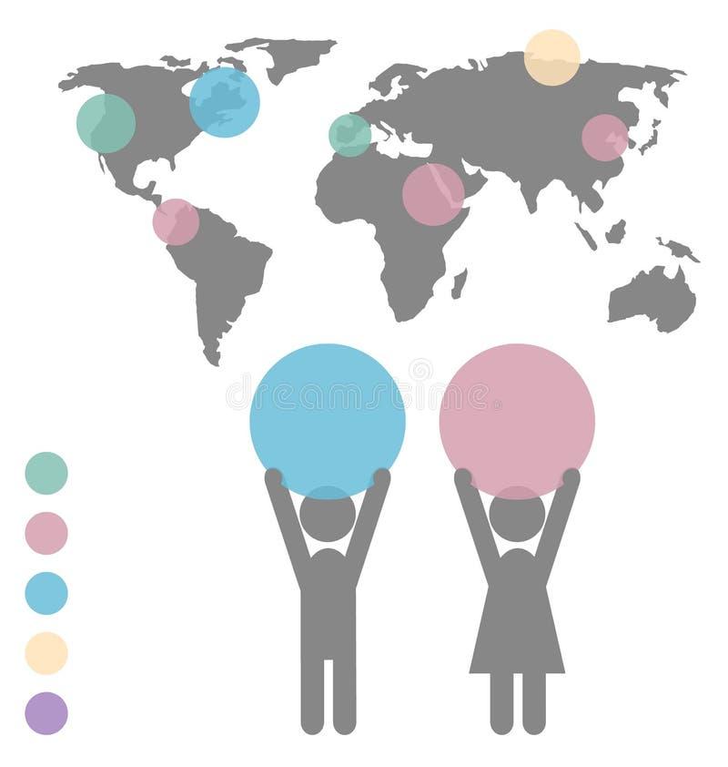 Iconos del hombre y de la mujer con el espacio para el texto y el aislador infographic del mapa stock de ilustración
