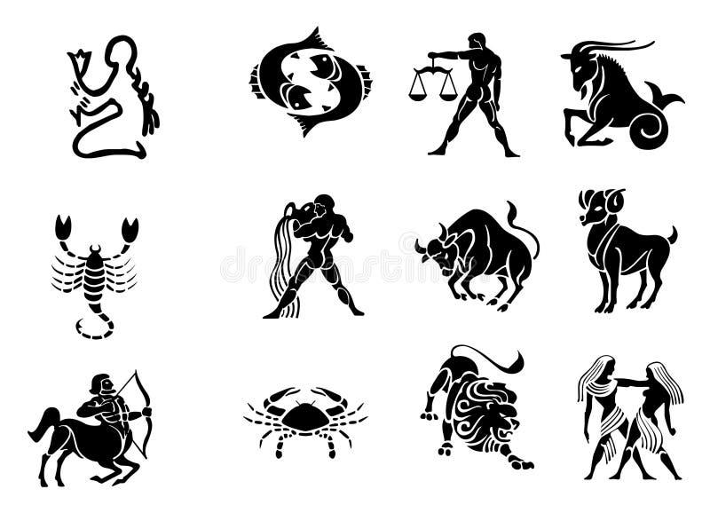 Iconos del horóscopo del zodiaco - blancos y negros ilustración del vector