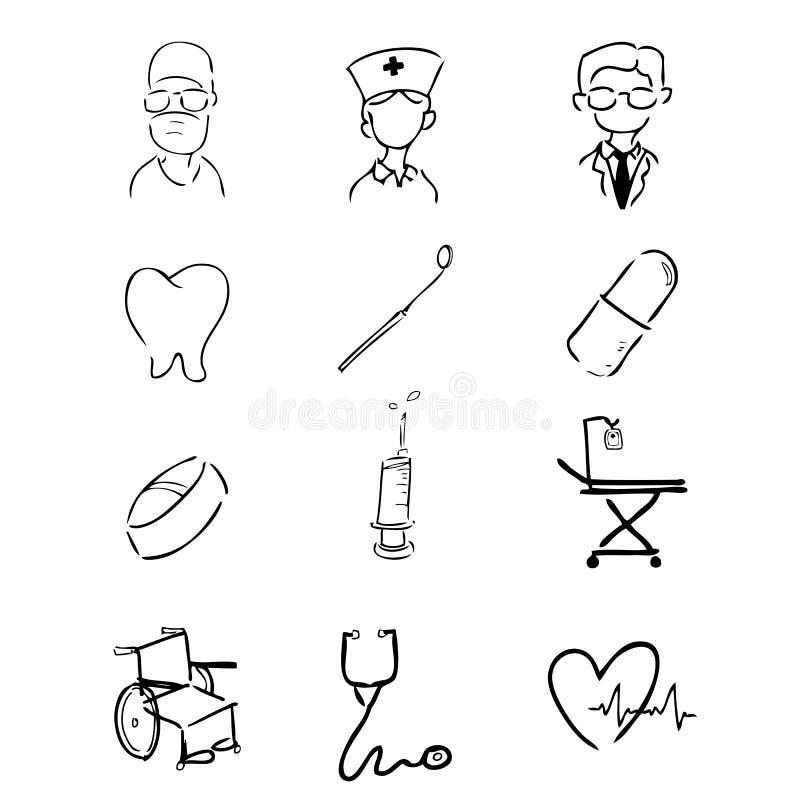 Iconos del hospital ilustración del vector