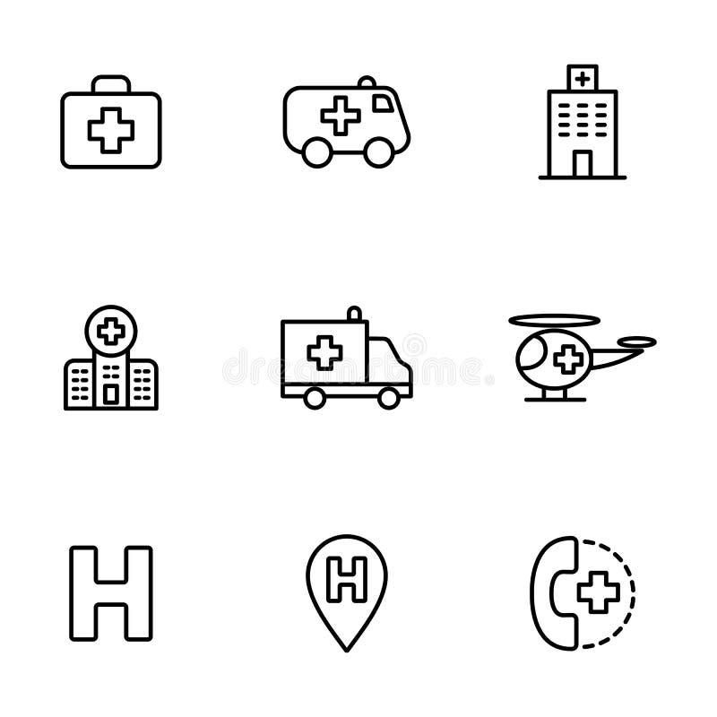 Iconos del hospital fijados en el fondo blanco stock de ilustración