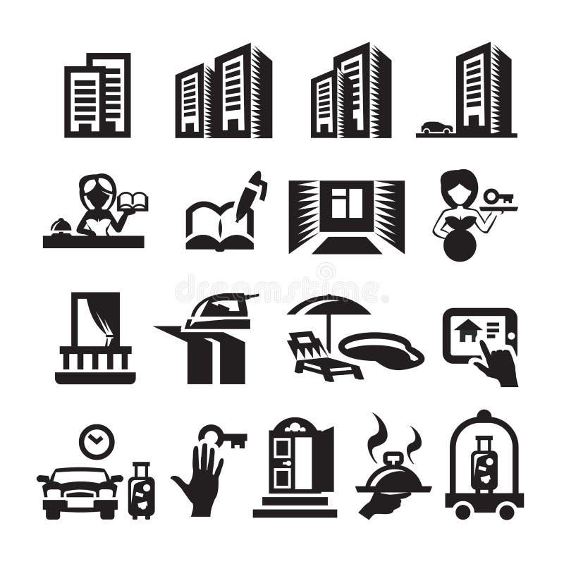 Iconos del hotel ilustración del vector