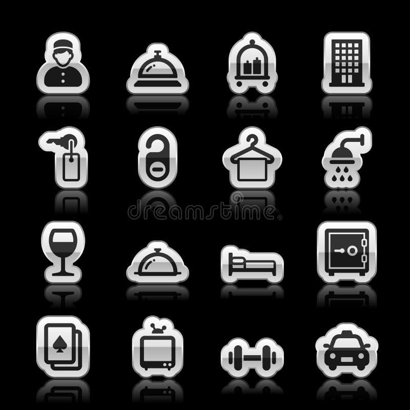 Iconos del hotel stock de ilustración
