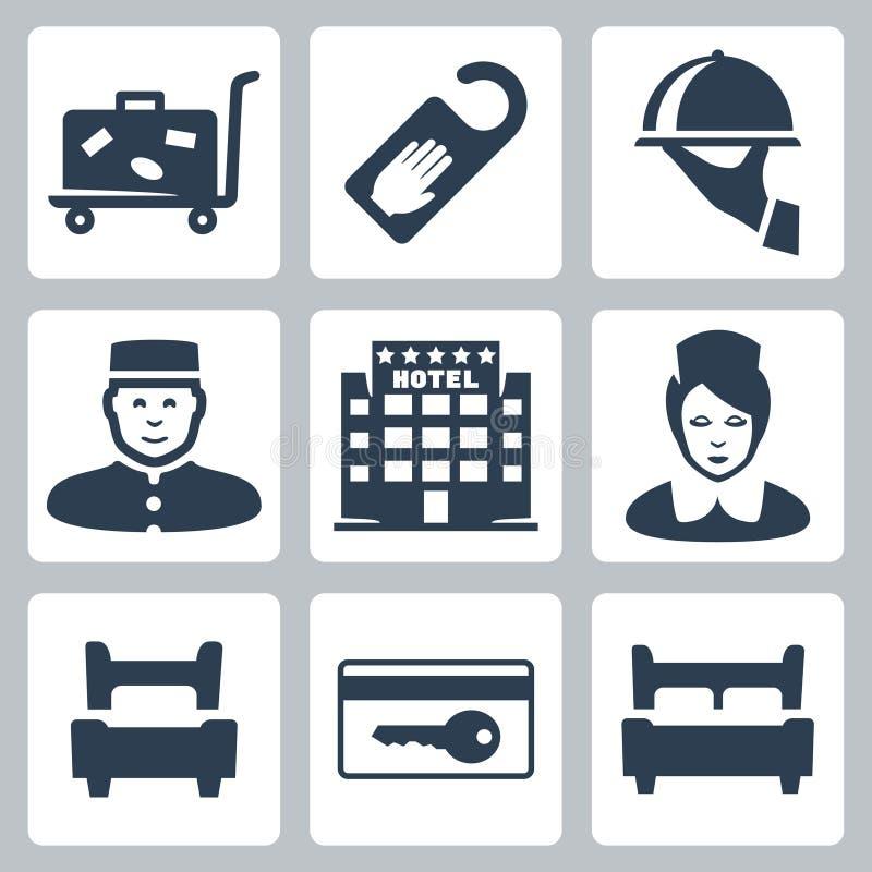 Iconos del hotel del vector fijados libre illustration