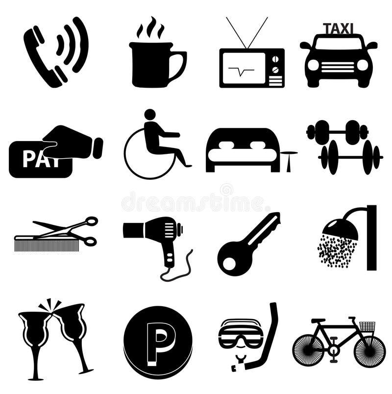 Iconos del hotel fijados stock de ilustración