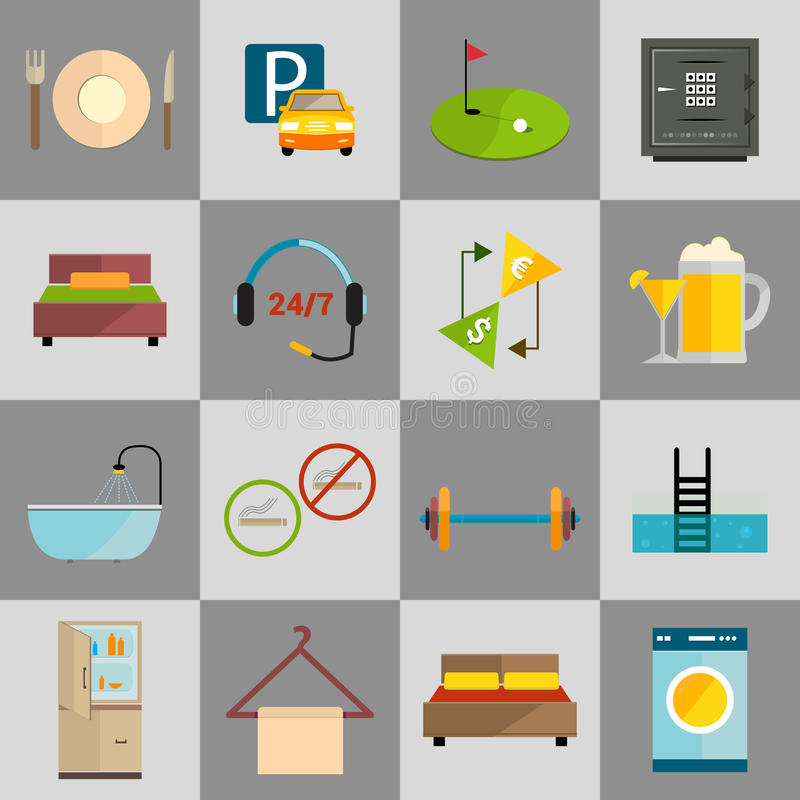 Iconos del hotel fijados libre illustration