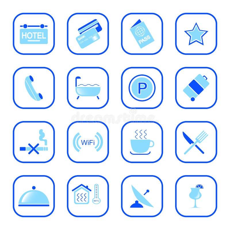 Iconos Del Hotel - Serie Azul Fotografía de archivo