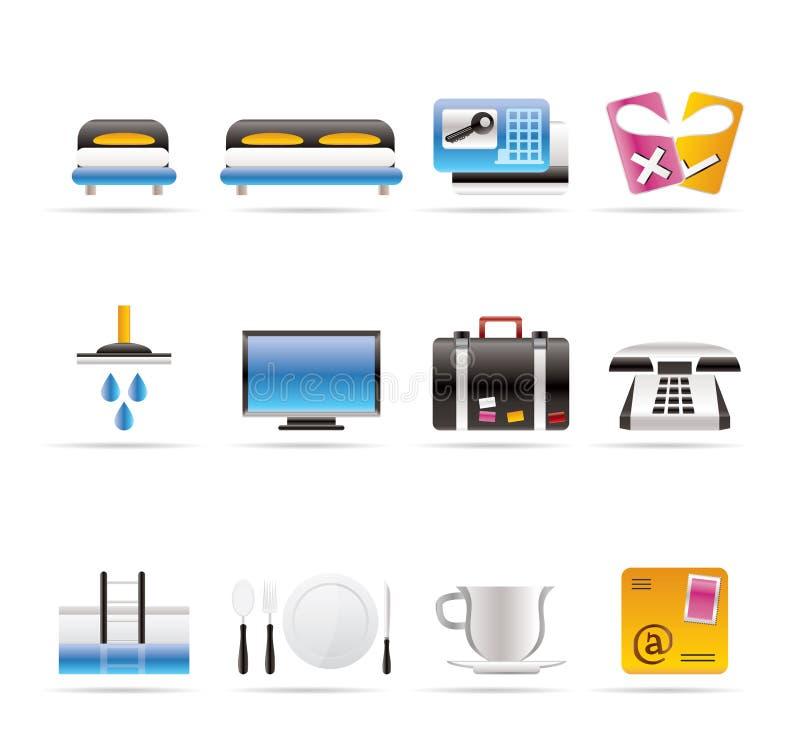 Iconos del hotel y del motel stock de ilustración
