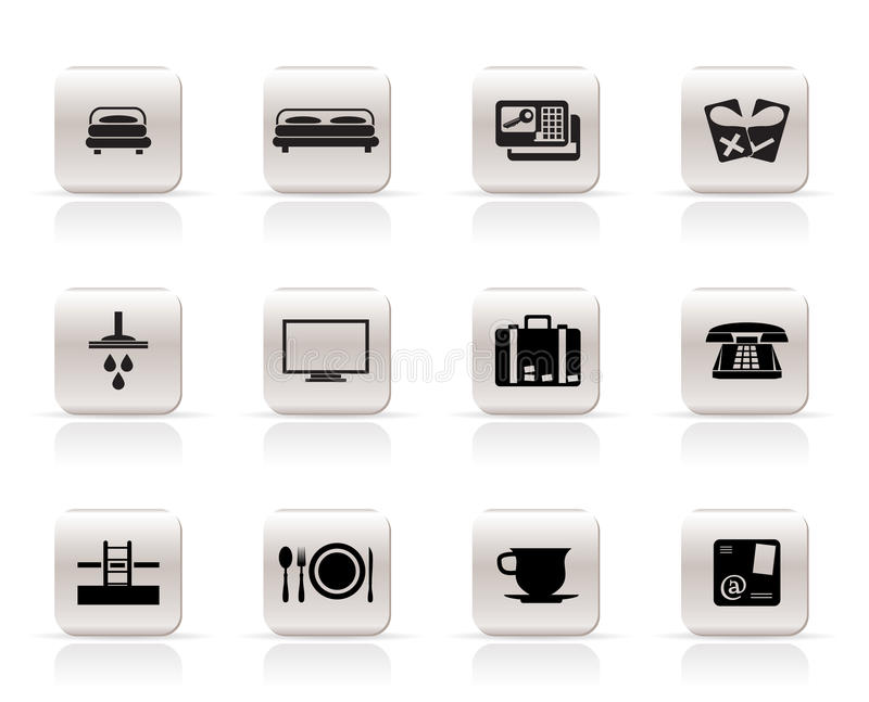 Iconos del hotel y del motel libre illustration
