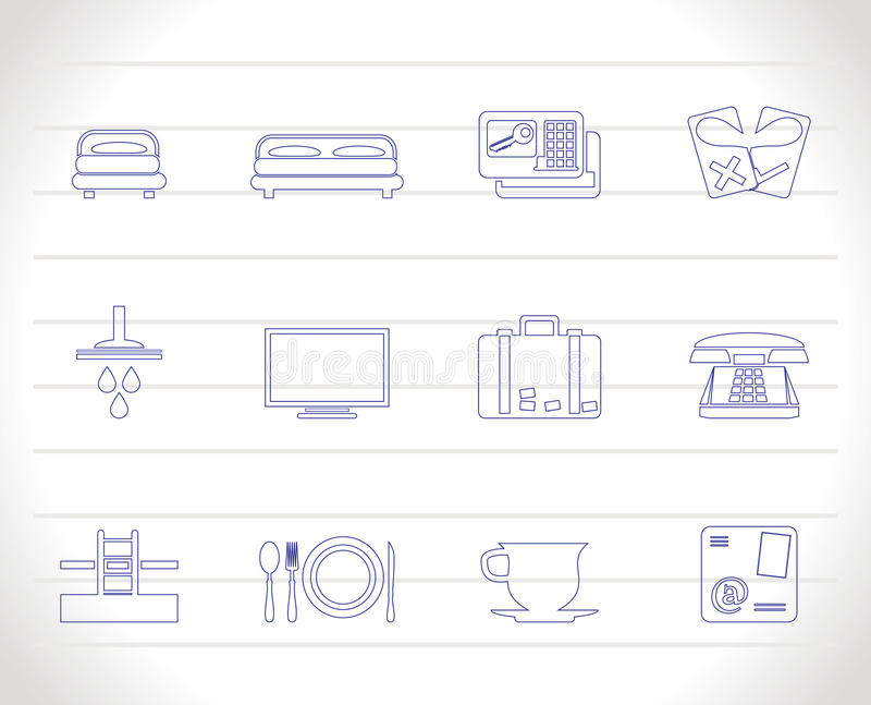 Iconos del hotel y del motel libre illustration