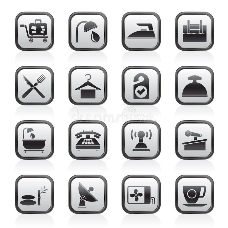 Iconos del hotel y del motel ilustración del vector