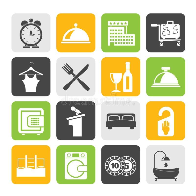 Iconos del hotel y del motel de la silueta libre illustration
