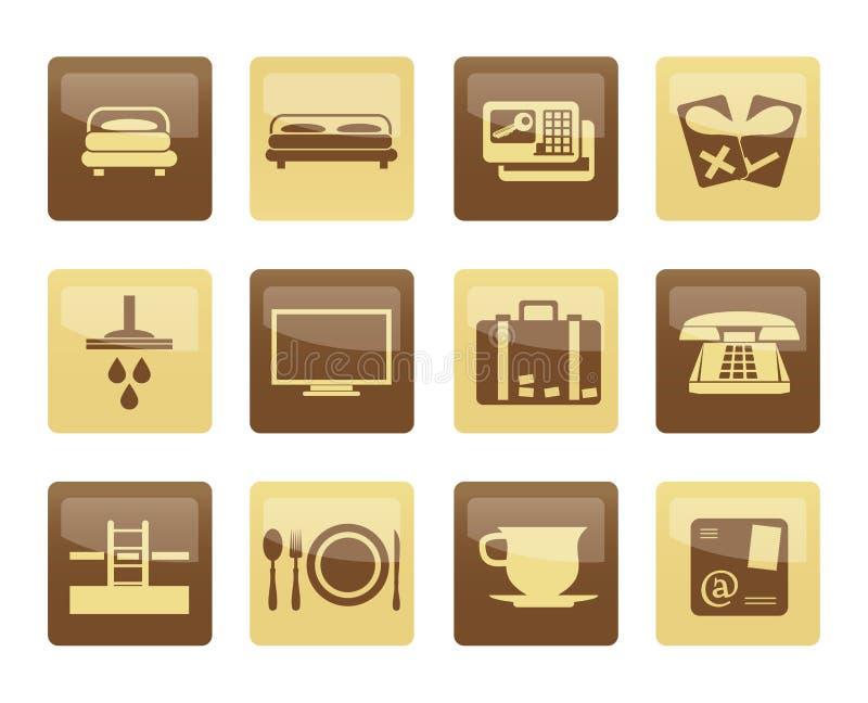 Iconos del hotel y del motel sobre fondo marrón libre illustration