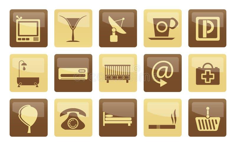 Iconos del hotel y del motel sobre fondo marrón stock de ilustración