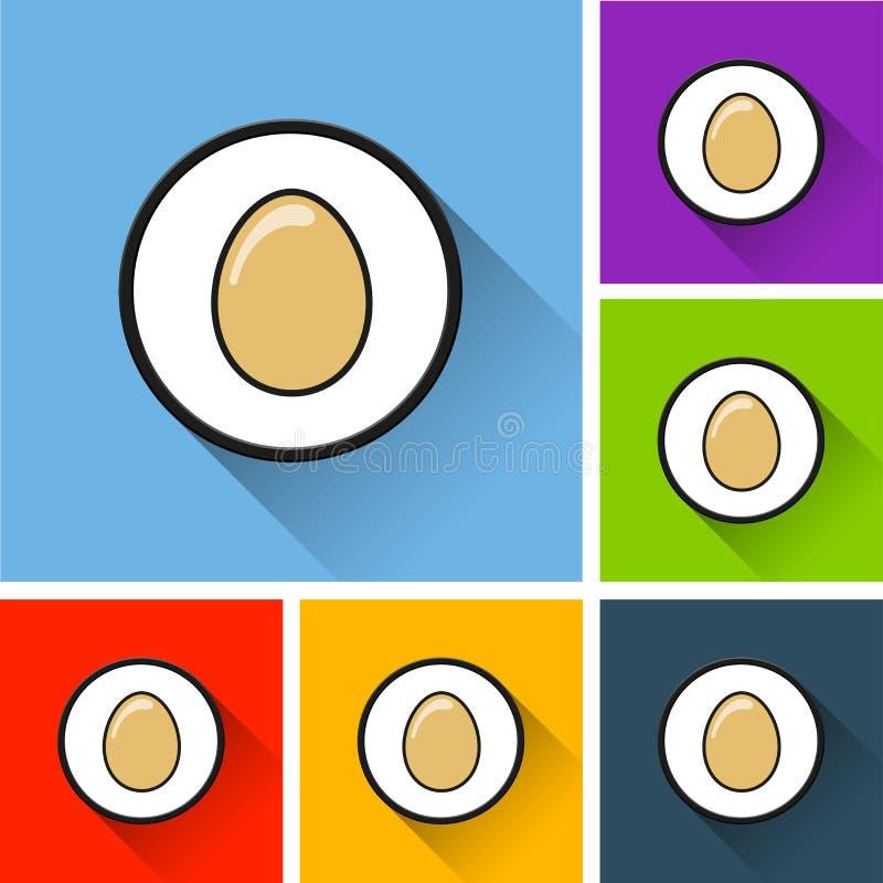 Iconos del huevo con la sombra larga libre illustration