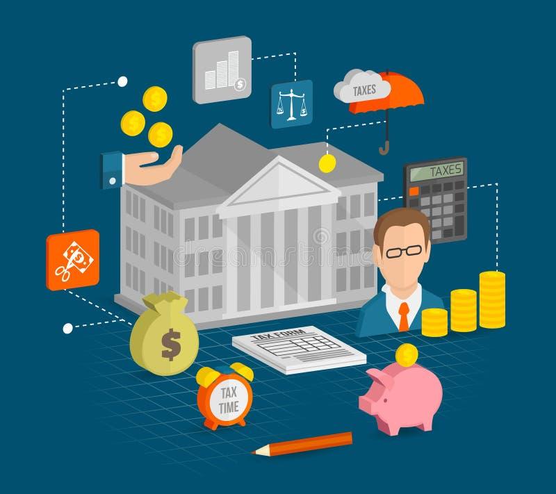 Iconos del impuesto isométricos libre illustration