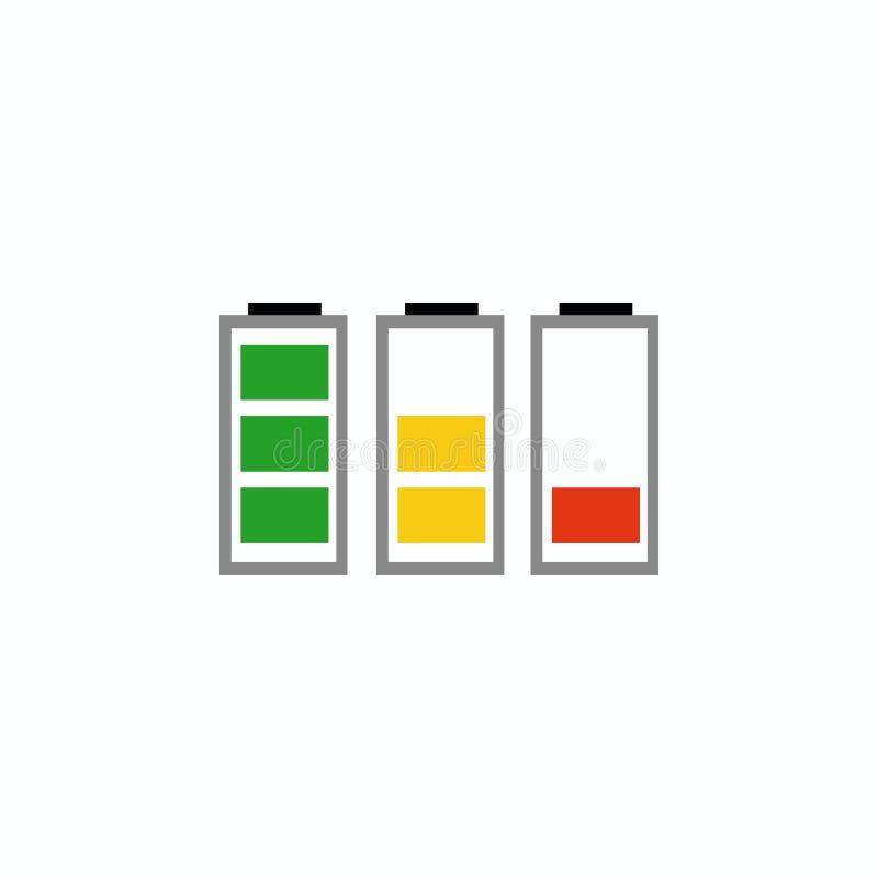 Iconos del indicador de la batería Ilustración del vector EPS 10 stock de ilustración