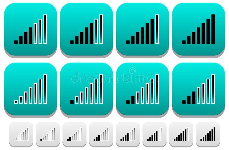 Iconos del indicador de la fuerza de señal libre illustration