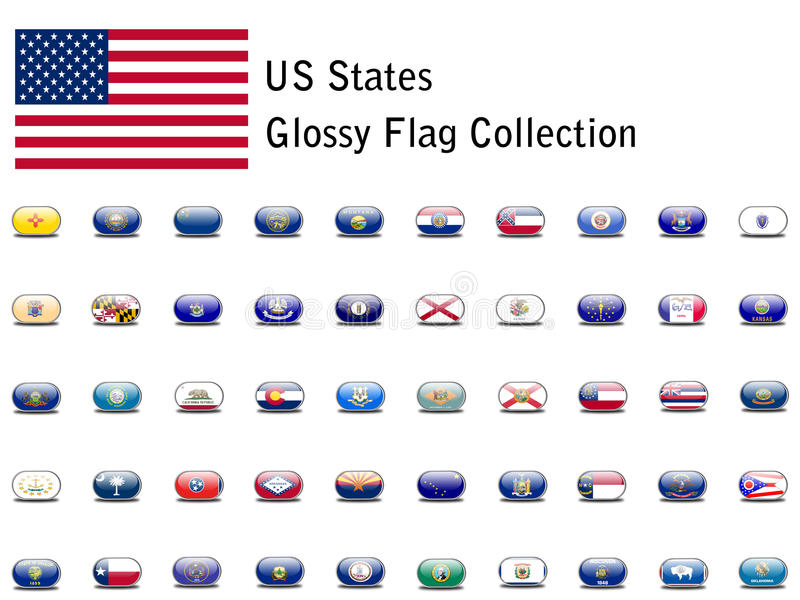 Iconos del indicador del estado de los E.E.U.U. ilustración del vector