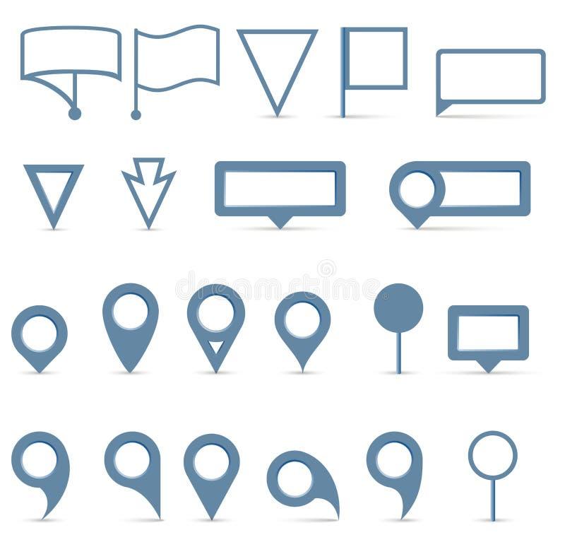 Iconos del indicador del mapa del vector fijados stock de ilustración