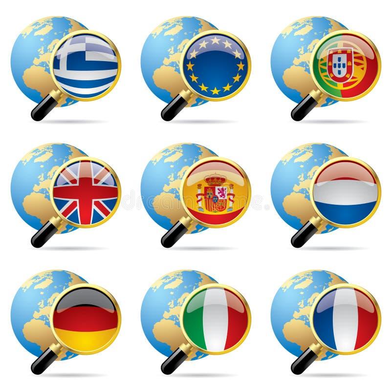 Iconos del indicador del mundo stock de ilustración