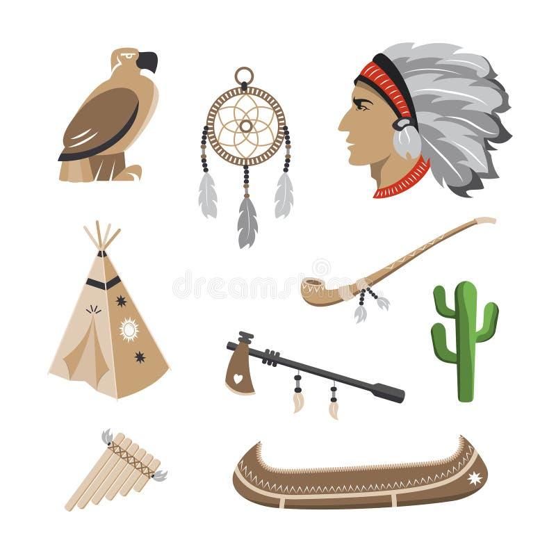 Iconos del indio del nativo americano ilustración del vector