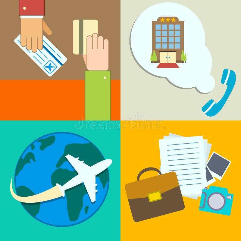 Iconos del infographics del viaje de negocios fijados stock de ilustración