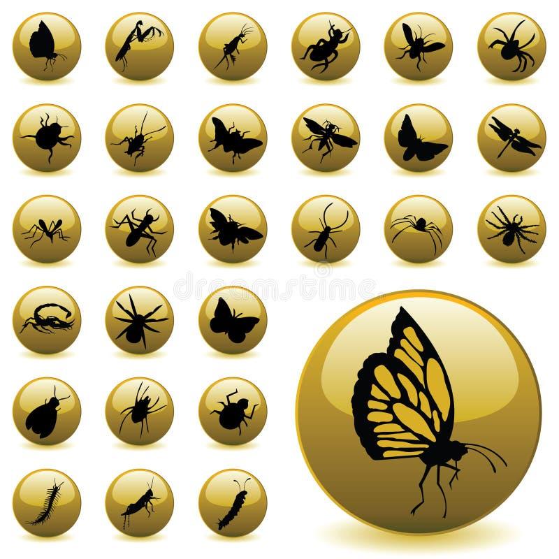 Iconos del insecto ilustración del vector
