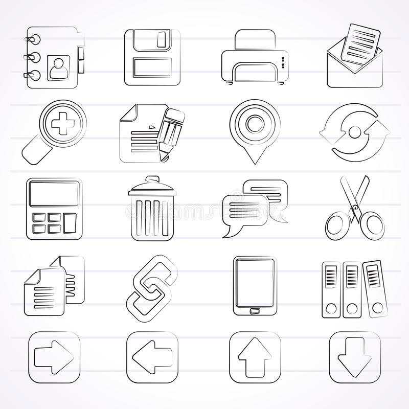 Iconos del interfaz de Internet stock de ilustración