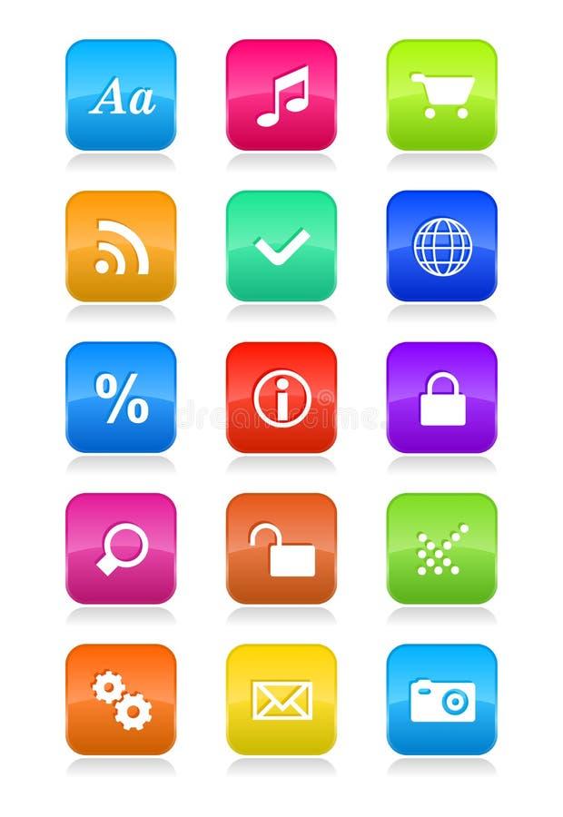 Iconos del interfaz del teléfono móvil fijados ilustración del vector