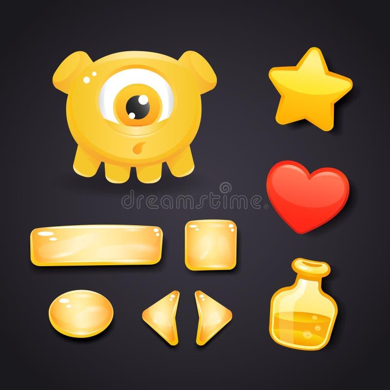 Iconos del interfaz para el diseño de juego con el monstruo ilustración del vector