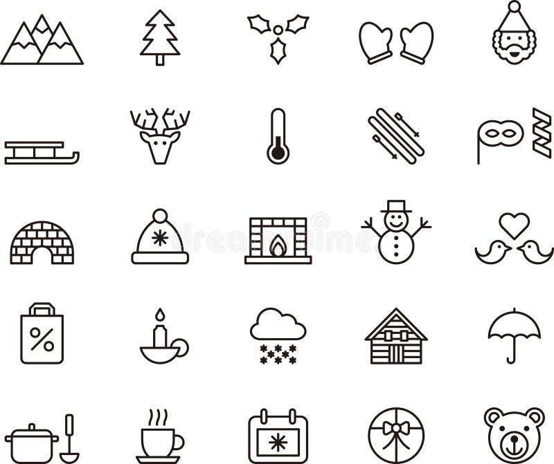 Iconos del invierno y de la Navidad ilustración del vector