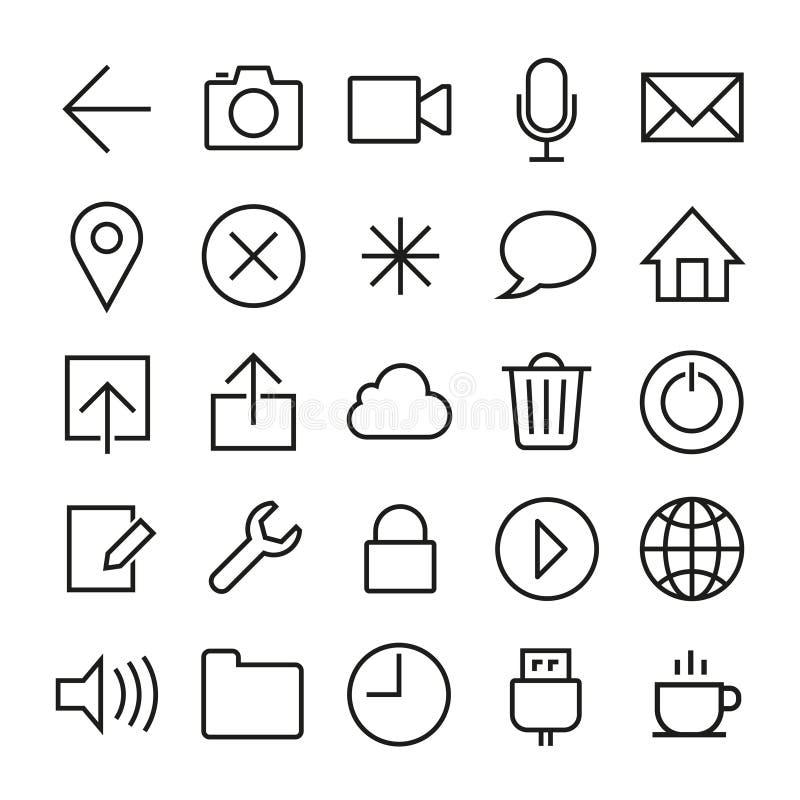 Iconos del IOS 7 fijados stock de ilustración