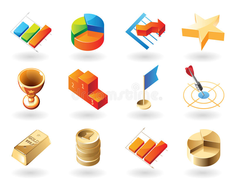 iconos del Isométrico-estilo para el extracto del asunto stock de ilustración