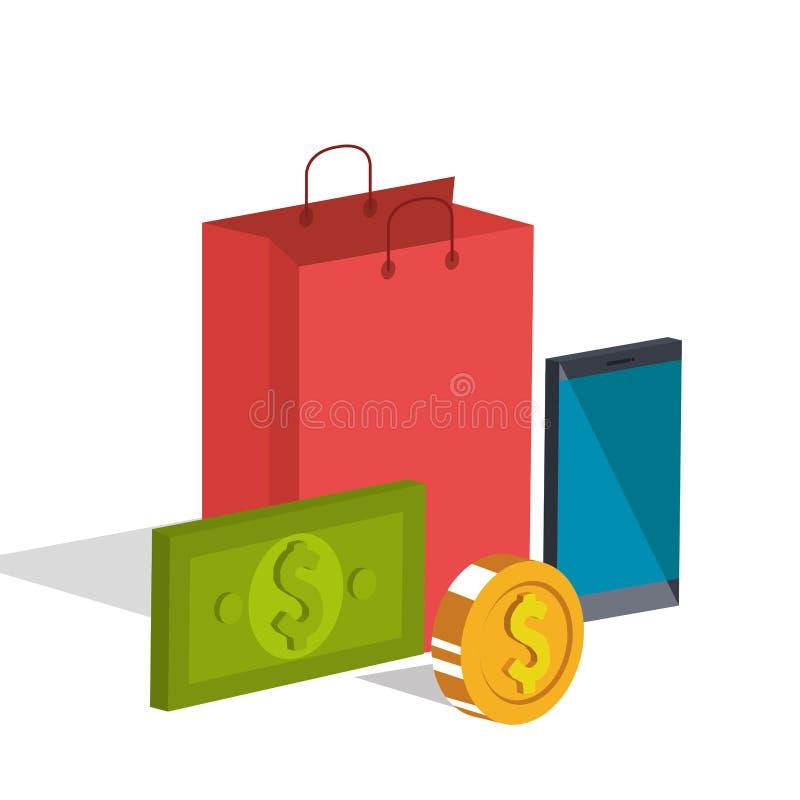 Iconos del isometrics del comercio electrónico stock de ilustración